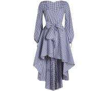 Kariertes Wickelkleid aus Baumwolle mit High-Low-Saum