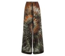 Wide-Leg-Pants aus Seide mit Batik-Optik