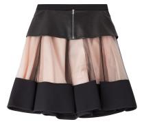 Flared-Skirt mit Leder und Mesh