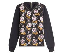 Besticktes Baumwoll-Top mit Leder und Pailletten