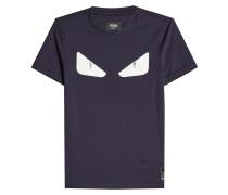 T-Shirt aus Baumwolle mit Lederapplikation