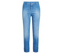 Cropped Straight Leg Jeans aus Baumwolle