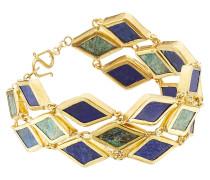 Vergoldetes Silberarmband mit Chrysokollen und Lapissen