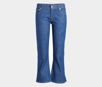 Cropped Jeans mit Cut Outs