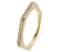 Hexagon-Ring aus 18kt Gelbgold mit weißen Diamanten