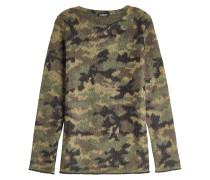 Camouflage-Rundhalspullover mit Mohair und Leinen