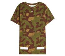 Camouflage-T-Shirt aus Baumwolle mit Print