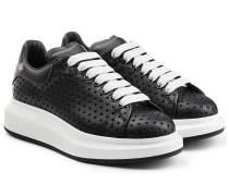 Plateau-Sneakers aus perforiertem Leder