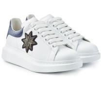 Sneakers aus Leder mit Stickerei