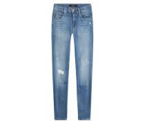 Mid-Rise-Jeans Capri im Distressed-Look