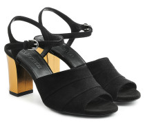 Sandalen aus Veloursleder mit Block Heel