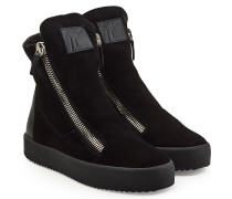 High Top Sneakers aus Veloursleder mit Lammfell