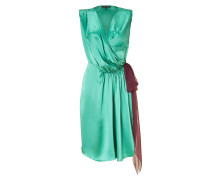 Turqoise/Ruby Silk Satin Wrap Dress