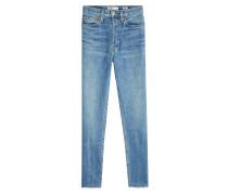 Cropped Straight Leg Jeans mit gefransten Säumen