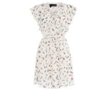 Geschnürtes Print-Kleid aus Seide