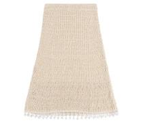 Midi-Skirt aus Baumwollstrick mit Fransensaum