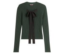Rippstrick-Pullover mit Seidenschleife