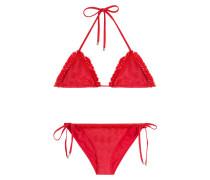Triangel-Bikini aus Häkelstrick mit Fransenborte