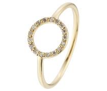 Ring Little Circle aus 18kt Gelbgold mit weißen Diamanten