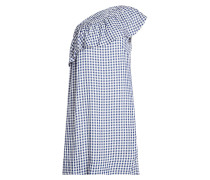 Kariertes Off-Shoulder-Kleid mit Volant