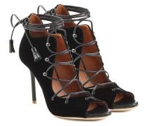 Open-Toe-Stilettos aus Samt mit Schnürung