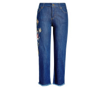 Bestickte Boyfriend-Jeans im cropped Cut