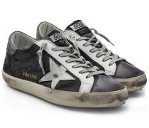 Sneakers Super Star aus Denim und Leder