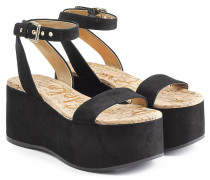 Plateau-Sandalen aus Veloursleder