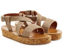 Plateau-Sandalen aus geprägtem Leder