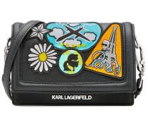 Mini-Schultertasche Karl Around The World mit Patches