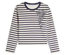 Besticktes gestreiftes Sweatshirt aus Baumwolle