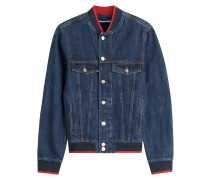 Bomberjacke aus Denim mit Patches