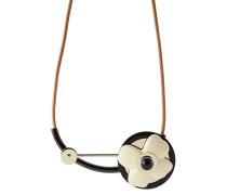 Halskette aus Messing und Leder mit Blüte