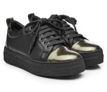 Leder-Sneakers mit Metallic-Akzent