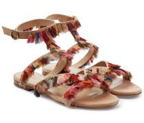 Sandalen aus Leder mit Fransen