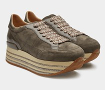 Plateau-Sneaker mit Leder