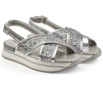 Plateau-Sandalen aus Leder mit Glitter-Finish