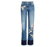 Bestickte Wide Leg Jeans mit ausgefranstem Saum