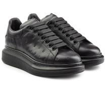 Leder-Sneakers mit Totenkopf-Prägung