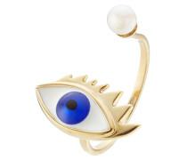 Ring Eye aus 9kt Gelbgold mit Süßwasserperle und Emaille
