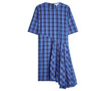 Kariertes Kleid aus Baumwolle mit Volant
