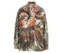 Jacke mit Batik-Optik, Schmuckperlen und Fransen