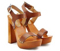 Holzplateau-Sandalen mit Leder