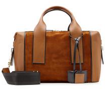 Duffle-Bag Medium aus Leder und Veloursleder