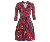 Bedrucktes Wolle-Seide-Kleid in Wickeloptik