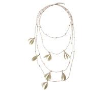 Halskette mit bunten Perlen und Federn
