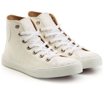 Leder-Sneakers mit gewelltem Saum