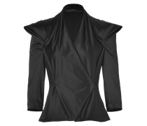 Black Satin Draped Jacket