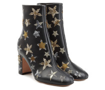Bestickte Ankle Boots Starstudded aus Leder