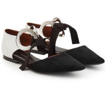 Flats aus Veloursleder und Leder mit Schleifen
